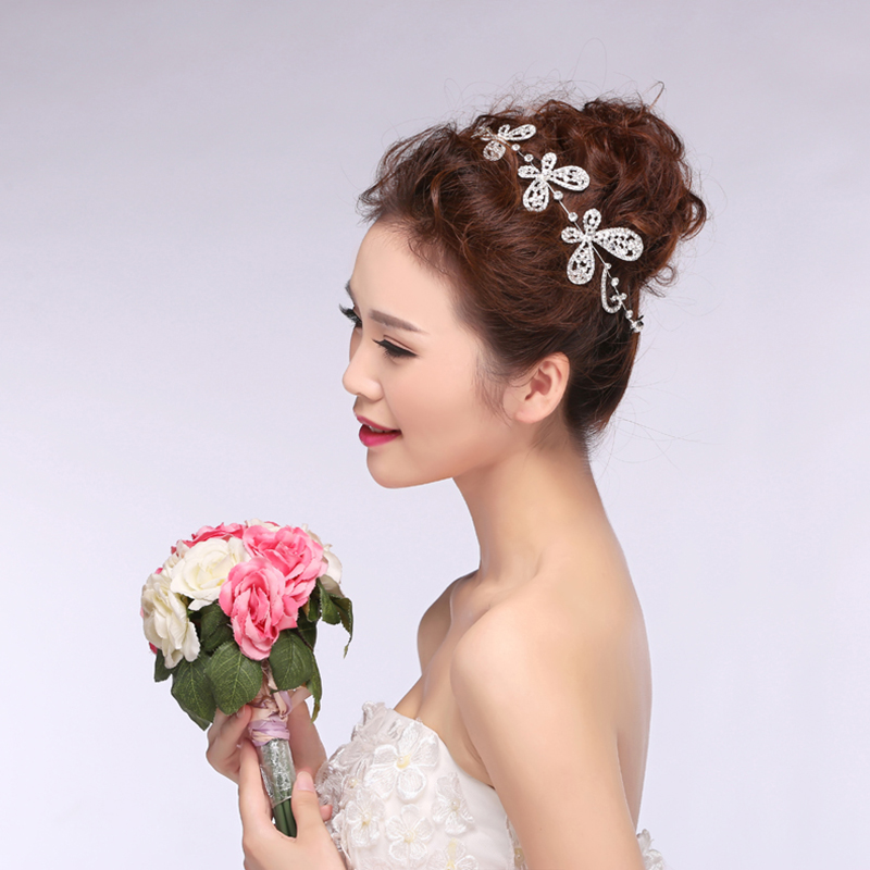 The new bride headdress korean wedding accessories wedding accessories long diamond bridal jewelry bridal hair accessories headdress wholesale