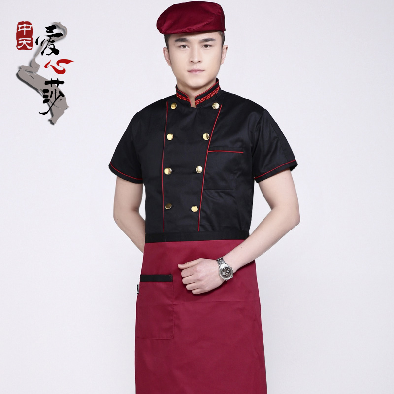 The new chef service hotel chef clothing short sleeve black chef clothing short sleeve cake bakery chef service work clothes