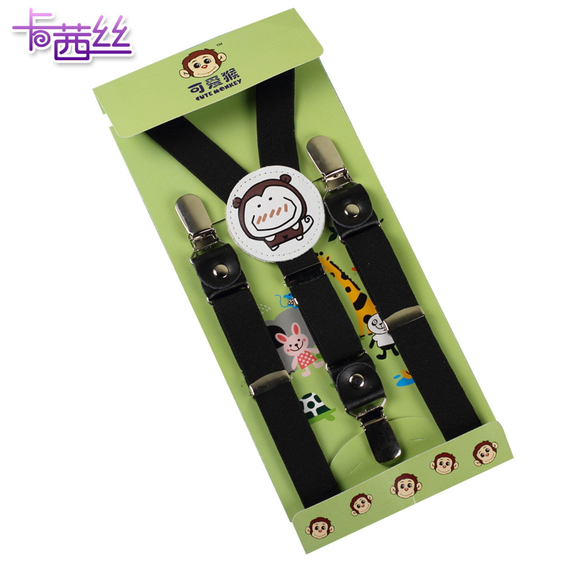 The new children's boutique cartoon strap sling baby boys and girls stretch strong clip clip elastic suspenders