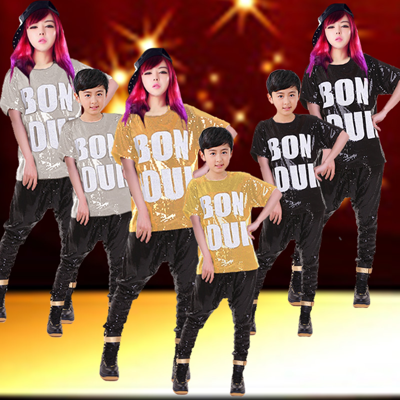 The new children's clothes and costumes hiphop hip hop jazz dance costume adult costumes hip-hop hip-hop tide suit