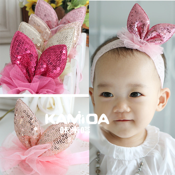 The new children's cracking meters despair sequins rabbit ears headdress hair band baby hair accessories lace headband hair band korean version of jewelry