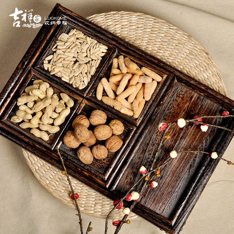 The new chinese auspicious wood rectangular tray tea qi jiantao united states gretl living room coffee table candy dish snack tray
