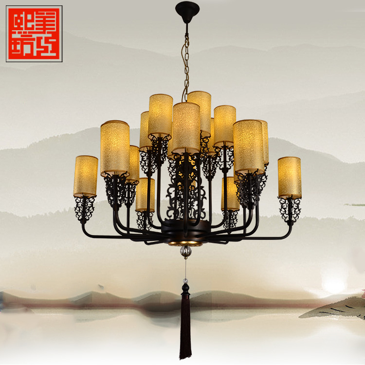 The new chinese modern minimalist chandelier vintage antique wrought iron bedroom den living room chandelier hotel restaurant lighting