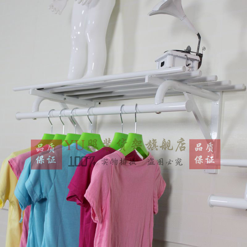 The new clothing store women's clothing store display racks hung chen column on the wall hangers clothing rack clothing store shelves