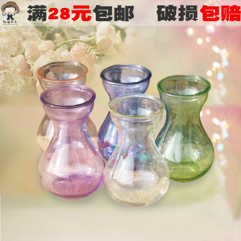 The new color hyacinth glass bottle gourd special vase clear glass vase bottle green dill p6 p6