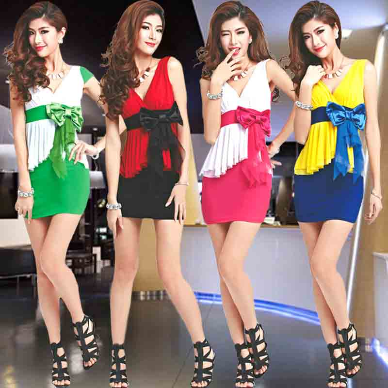 The new european and american fashion ol temperament dress summer dress women tide sexy nightclub slim tight package hip skirt