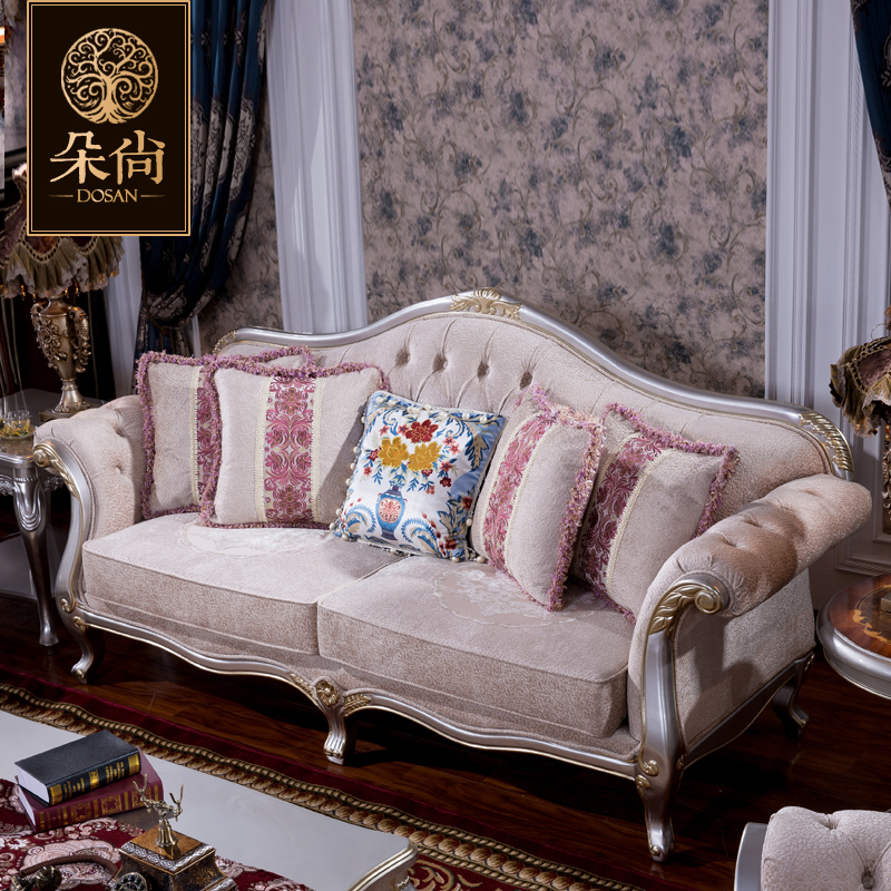 The new european classical sofa fabric sofa living room simple european solid wood sofa sofa at home with a small apartment sofa