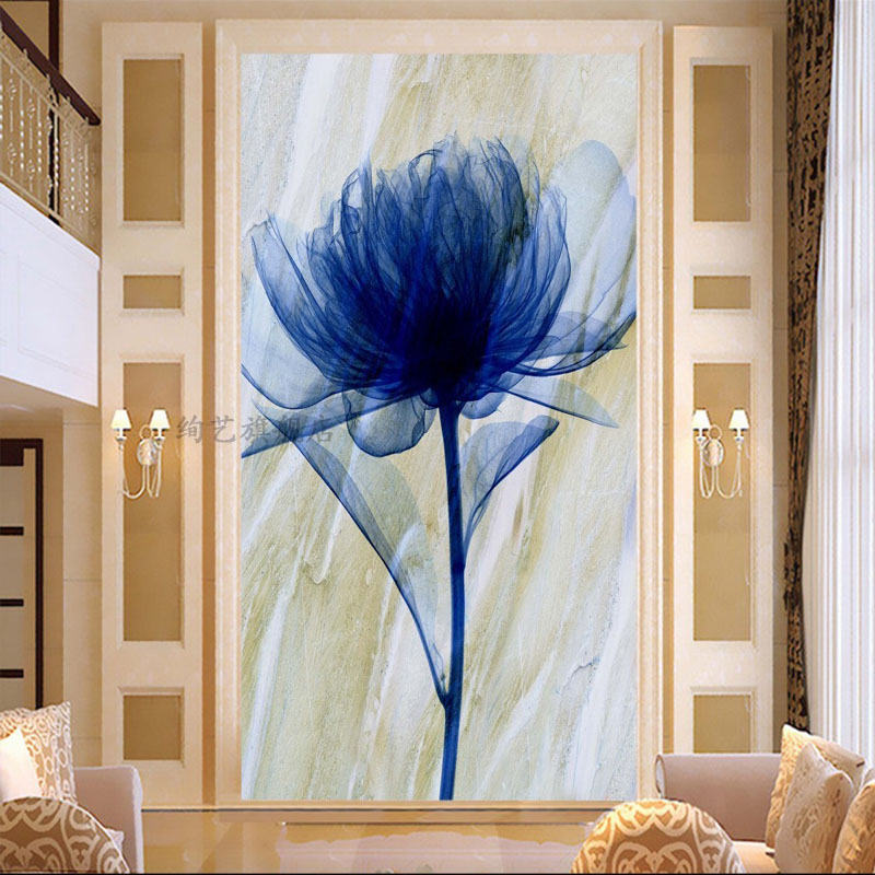 The new european painting 5d diamond paste diamond embroidered peony flowers fantasy phantom blue point diamond drill stitch painting the living room entrance