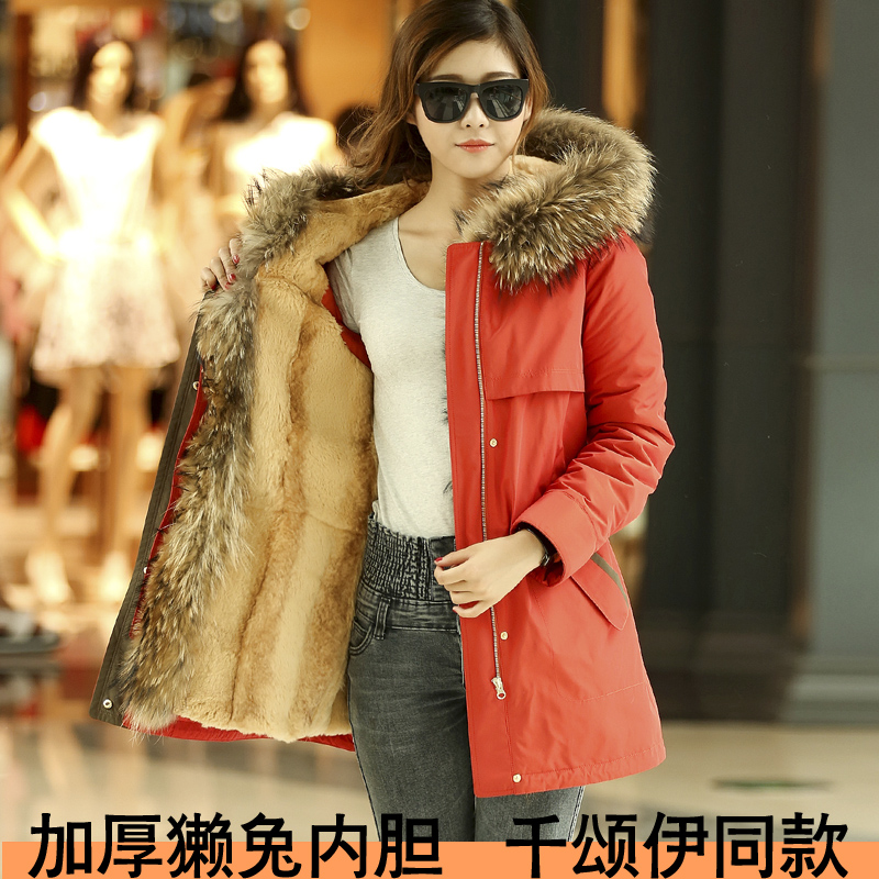 The new female clothing nick liner rex raccoon fur collar female fur coat leather thousand iraqi chung same paragraph full of bile