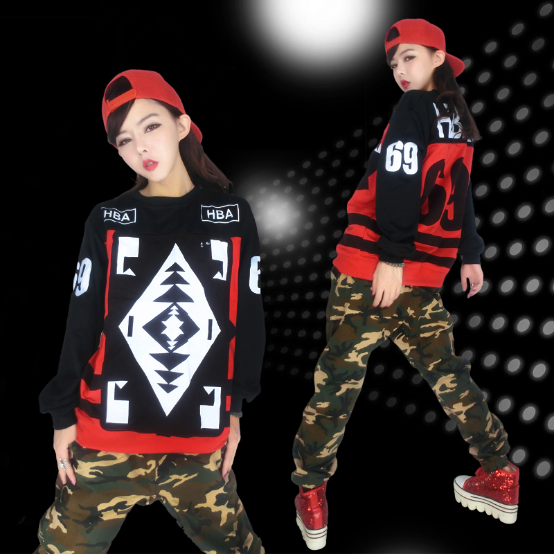 The new hip-hop camouflage clothing ds performance clothing lead dancer costumes jazz hip-hop hiphop hip hop jazz dance costume female harem pants