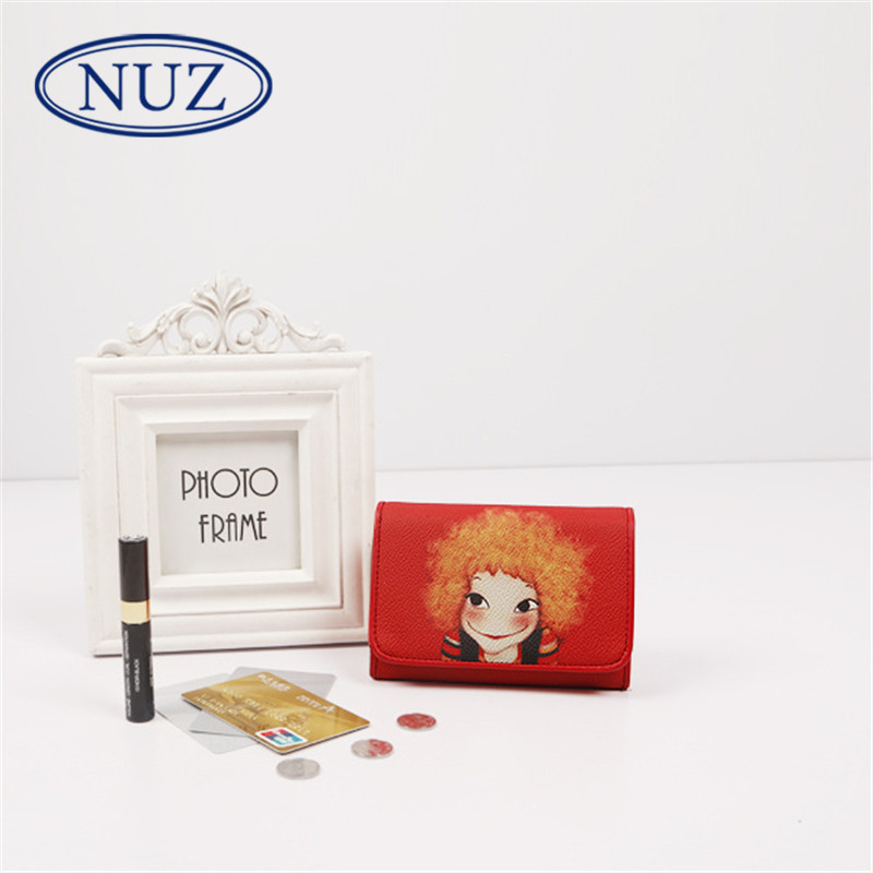 The new hong kong NUZ2016 brand sweet printing three fold wallet clutch bag ladies short paragraph tide 2957
