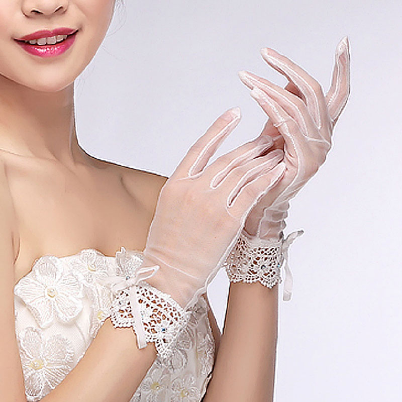 The new korean fashion flash diamond bow short paragraph lace bridal gloves fingerless bridal wedding accessories 01