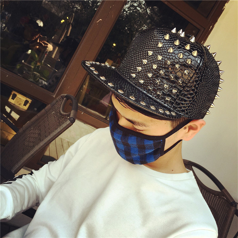 The new korean punk black and white orange hat lovers baseball cap flat brimmed hat hip hop personality rivet cap