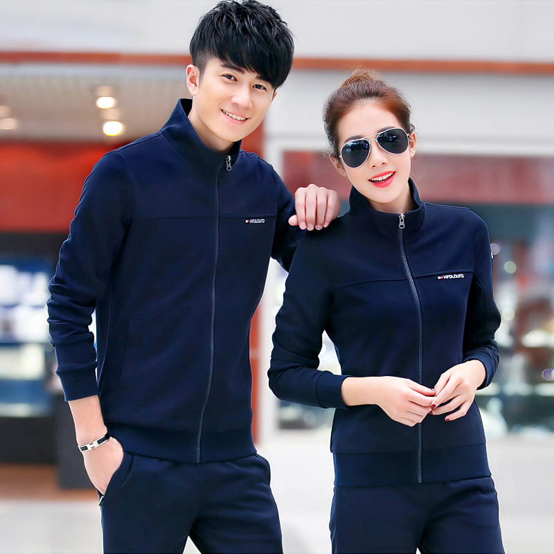 The new korean version of slim spring sports suit male couple casual sportswear suit women casual sportswear long sleeve suit