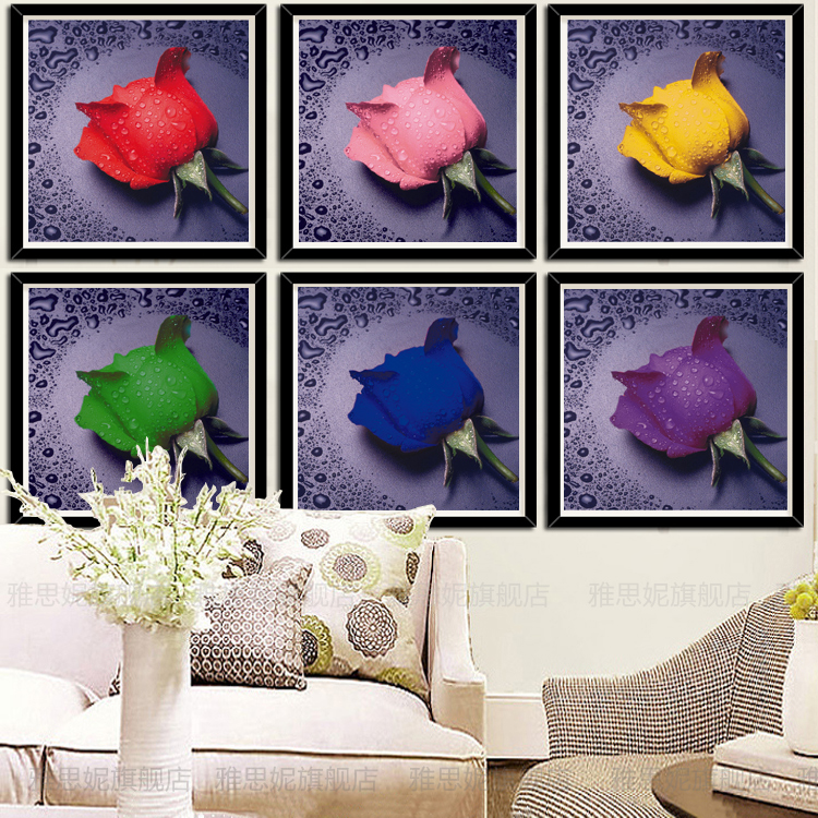 The new living room painted diamond stitch 5d round diamond paste diamond diamond embroidery painting dripping rose cube round diamond diamond paintings