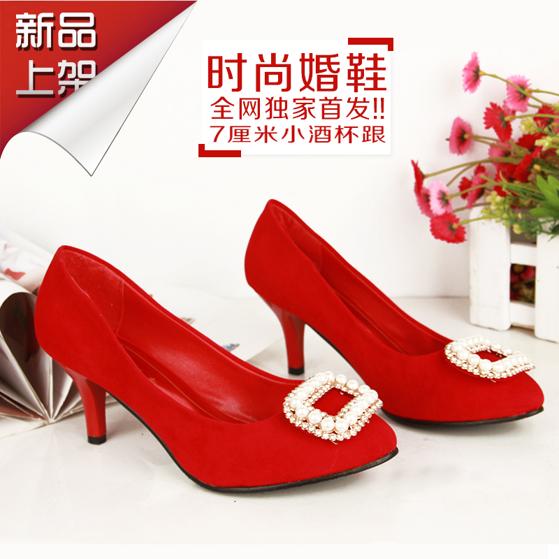 The new makeup of female wedding shoes fine with shallow mouth wedding shoes red bridal shoes wedding shoes shoes wedding shoes free shipping