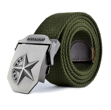 The new men and women weave canvas belt men's automatic belt buckle canvas belt tide longer thicker belt