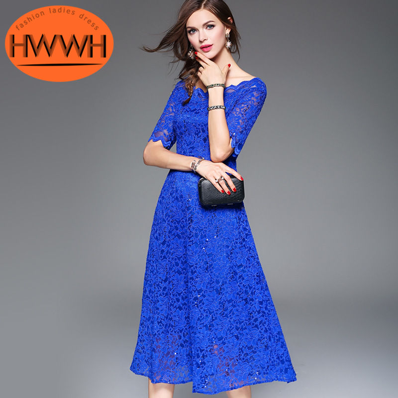The new ms. HWWH2016 dress fifth sleeve loose waist solid color zipper lace dress wild 3791