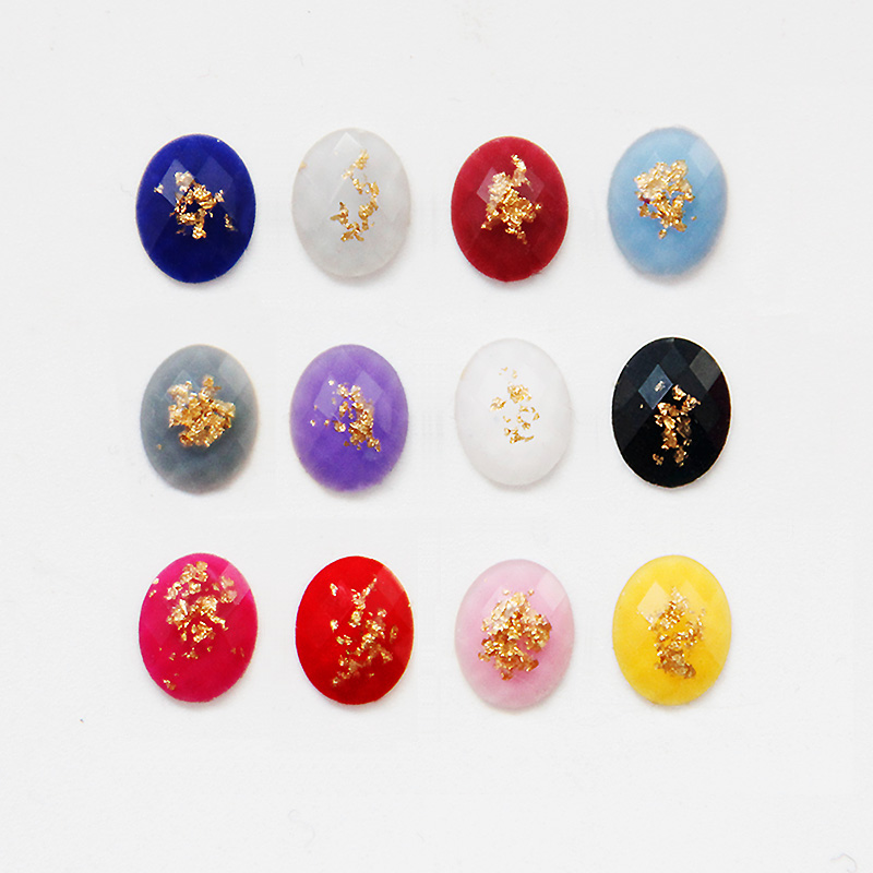 The new nail jewelry resin diamond drill wholesale flat oval retro luxury gold foil gold treasure japanese ornaments