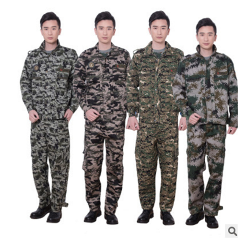 The new outdoor camouflage suit men and women spring and summer suit student military service military training uniform overalls suit