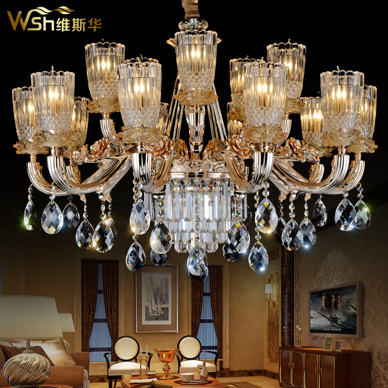 The new personality export k9 crystal chandelier zinc alloy crystal chandelier penthouse floor wax candle light led lamps minimalist