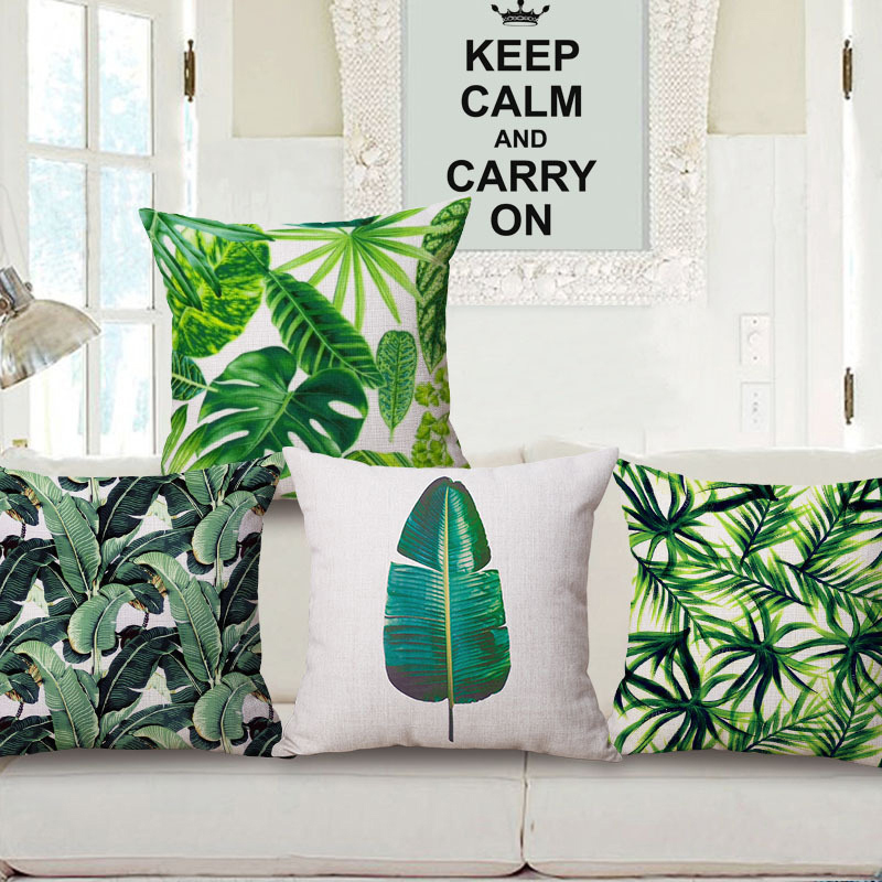 The new plant flowers pp cotton contadino tropical plants leaves pillow cotton pillow cushion covers fashion digital