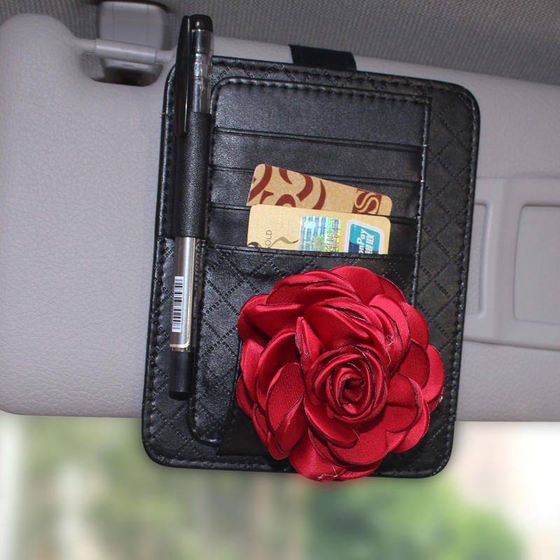 The new rose ms. multifunction business card holder card bank card holder paper clips car glasses clip visor storage with a female