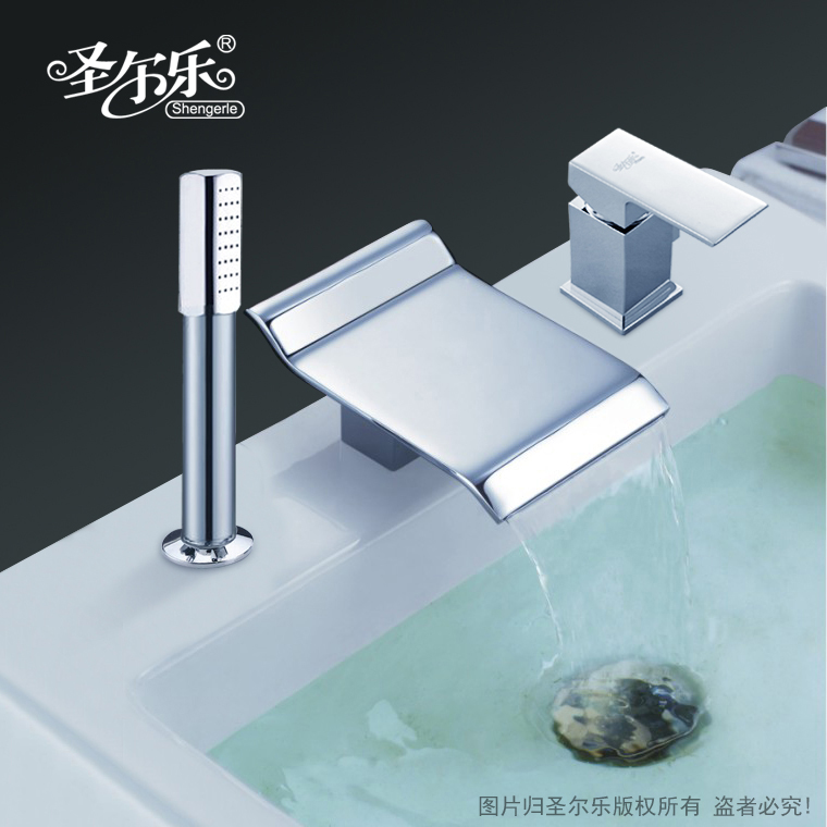 The new split three holes pull shower waterfall waterfall basin faucet basin faucet hot and cold shower bathtub faucet