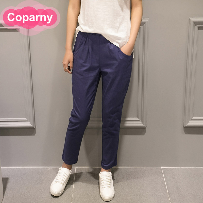 The new spring 2016 korean fashion cotton loose big yards elastic waist harem pants loose pants pantyhose feet pants