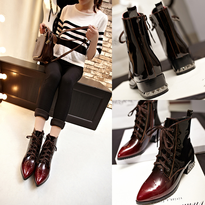 517e34ae2f2 Get Quotations · The new spring 33 small yards 4043 yards fat feet wide feet  burgundy patent leather boots