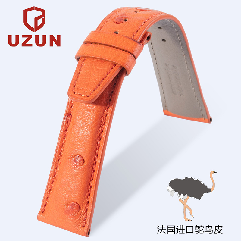 The new strap uzun france upscale ostrich leather watch band strap waterproof 22 20 19 18mm