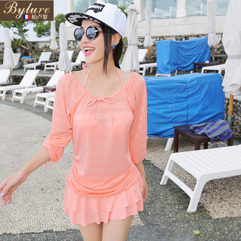 The new swimsuit female korean version of a solid color denim skirt bikini small chest gather split skirt style swimsuit with blouse