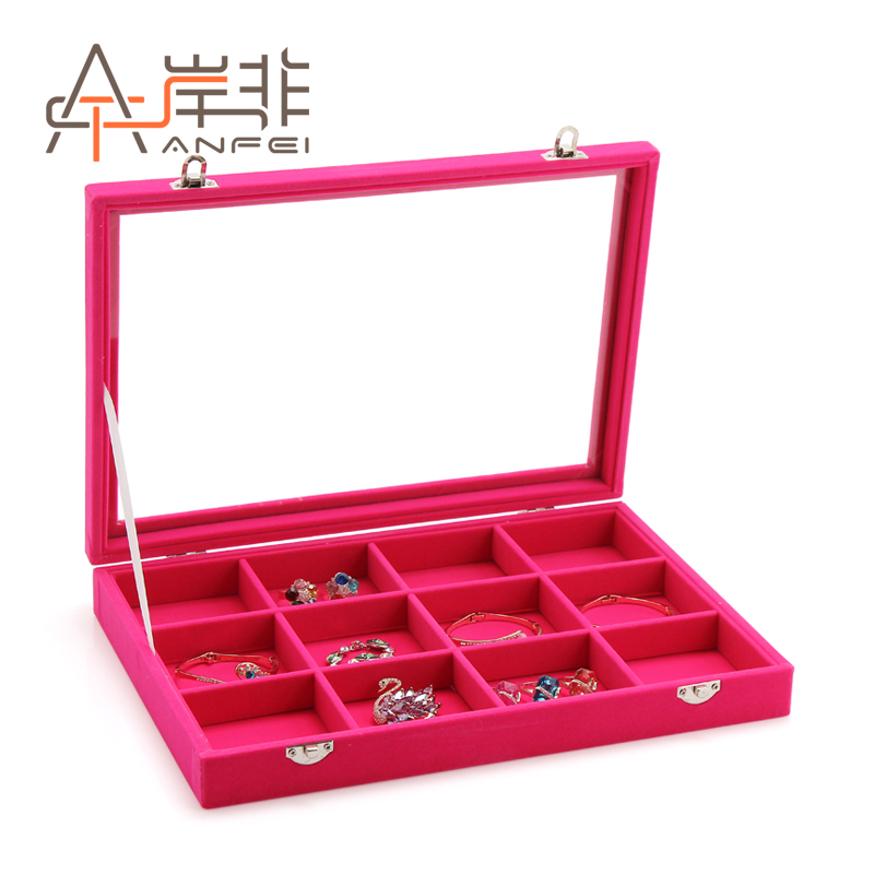 The other side of the non glass lid jewelry box ring box necklace bracelet earring jewelry display storage box