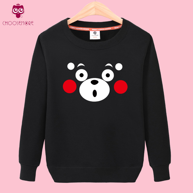 The pioneering inclined autumn hedging round neck sweater female thin section under the age of kumamoto bear cartoon printed long sleeve tide