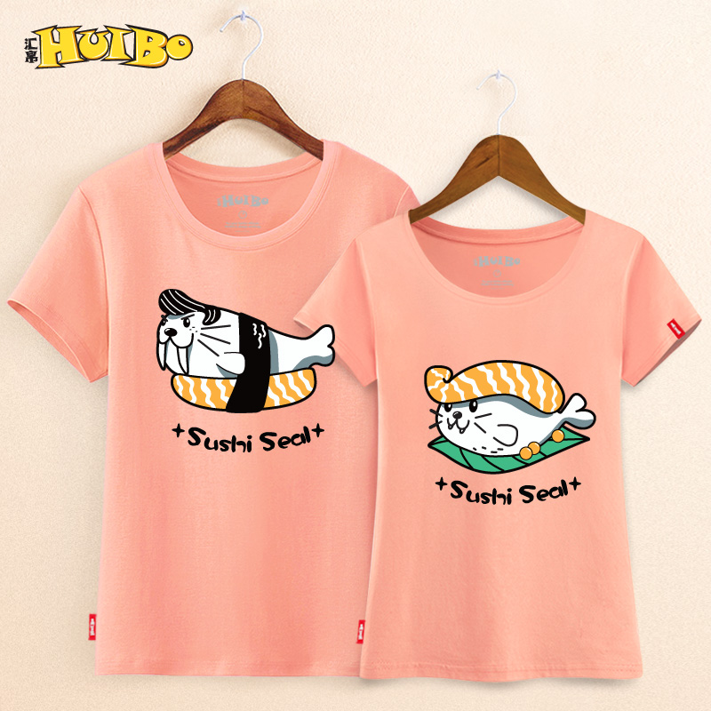 The silk 2015 summer new cotton t-shirt cartoon sushi ladieswear seal cartoon t-shirt slim lovers