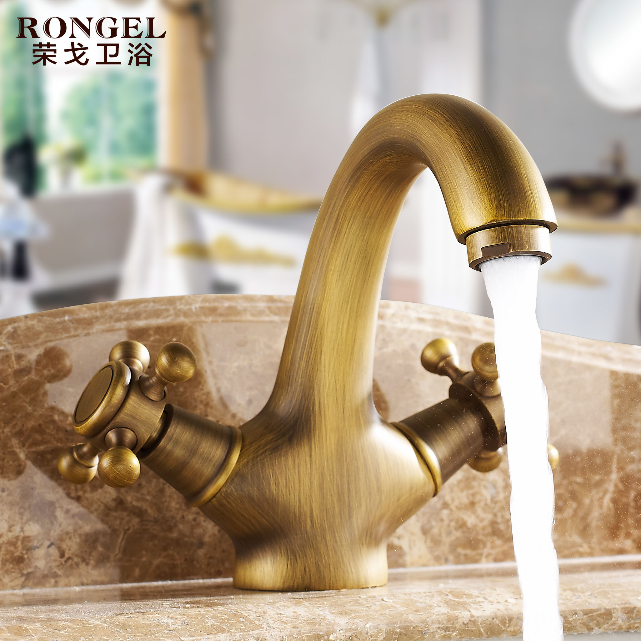 The whole european copper continental antique copper faucet basin faucet hot and cold hands round pastoral retro hot and cold taps