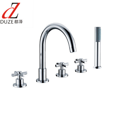 The whole european copper split bathtub faucet wujiantao five hole cylinder side faucet hot and cold shower set