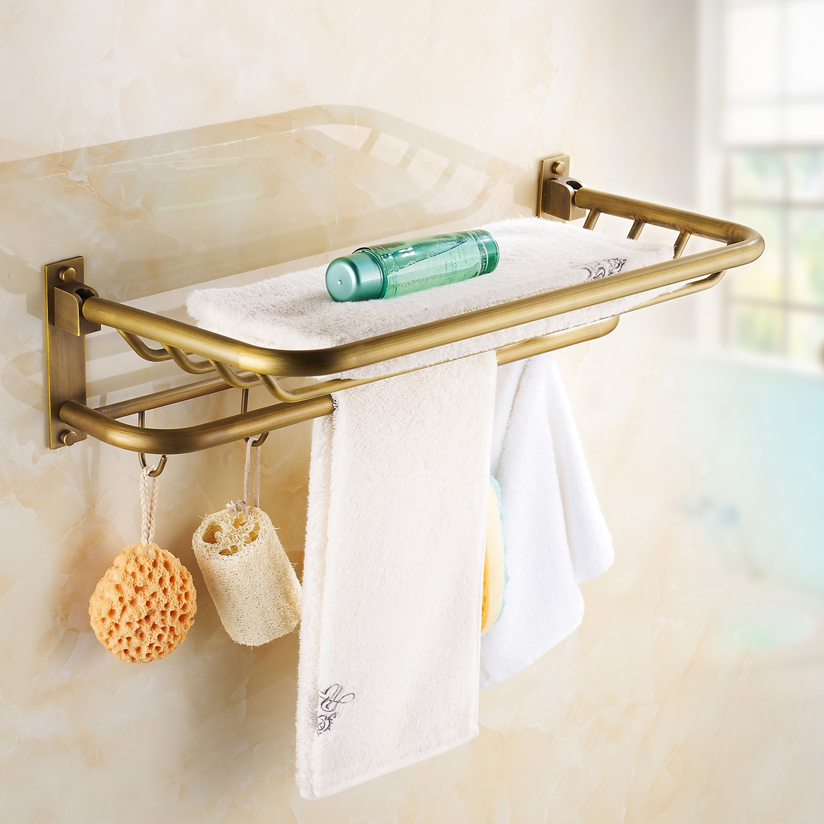 The whole european copper whole european antique copper folded towel rack towel rack bathroom toilet continental shelf