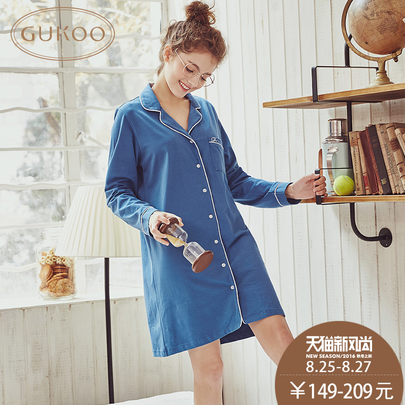 The20-30th days of autumn long sleeve silk nightgown nightgown ms. female models fall cotton nightgown dress skirt suit sexy sleep