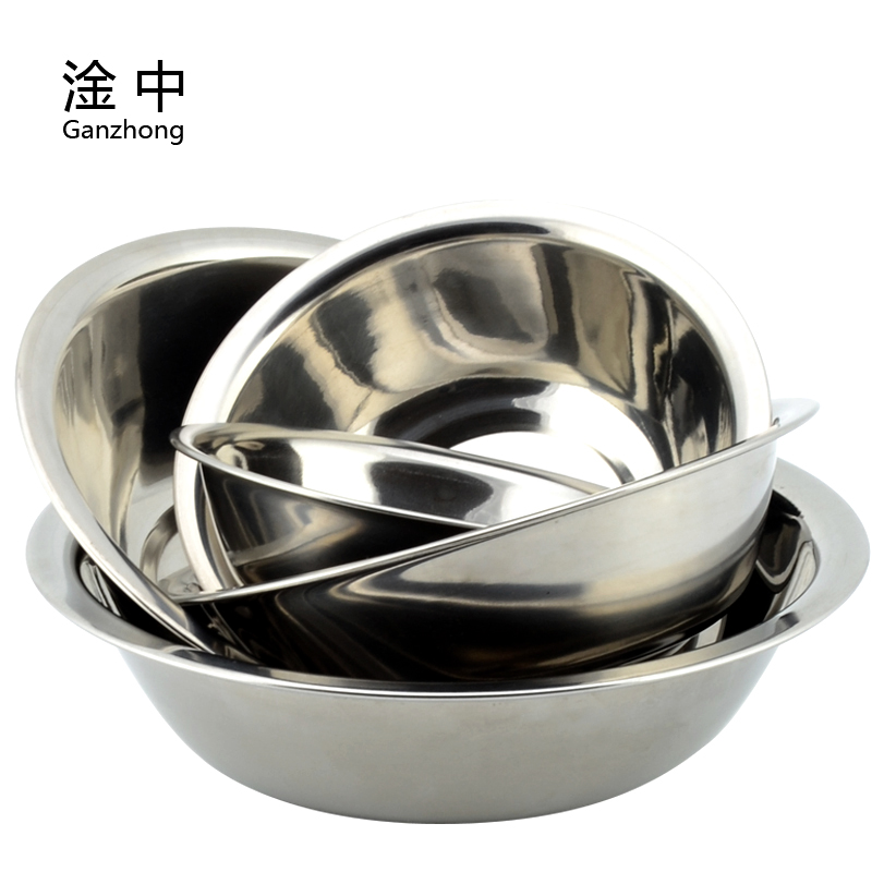 Thick 304 stainless steel horse bucket bowl beat egg bowl small round bowl soup pots kitchen with kitchen condiment pots wholesale
