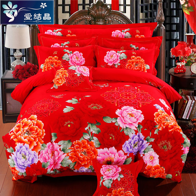 Thick brushed cotton denim big red wedding liu jiantao cotton wedding bed on supplies 1.82.0m winter