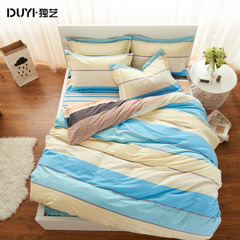 Thick brushed cotton denim four sets of 1.5 m 1.51.8m bed simple cotton textile quilt single or double bed with goods