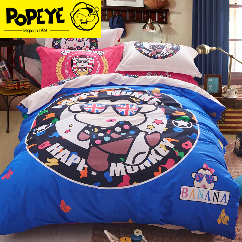 Thick cotton brushed denim 1.8 m bed double cartoon cotton bed linen quilt wedding celebration bedding