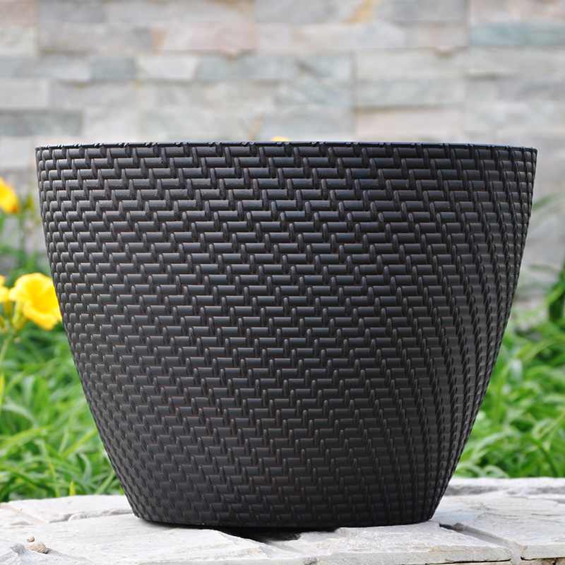 Thick imitation rattan pots genuine global ¬benefits potted plants gardening pots pots big black flower pots shipping