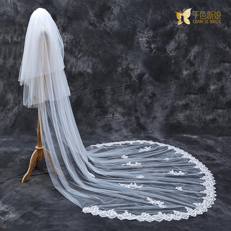 Thousands of colors the bride silhouette korean bridal veil long 3 m trailing three bud silk wedding new wedding veil