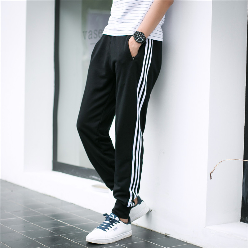 Three bars shut sports pants male cotton trousers fall and winter plus thick velvet jogging pants guardian spring and autumn models feet pants pull chain Thin