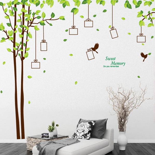 Three generations of removable wall stickers tree photo tree flowers AY220A bed living room sofa bedroom tv background wall stickers paper