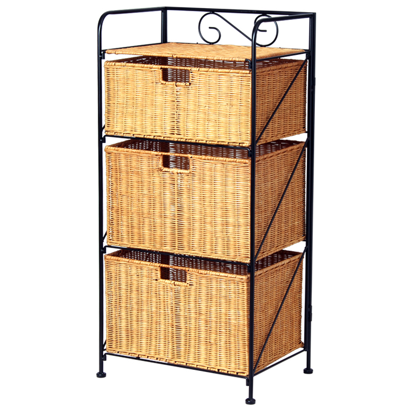 Three layers of bamboo and rattan living room clothing caught bathroom storage cabinets rattan rattan storage cabinets finishing cabinets storage cabinets