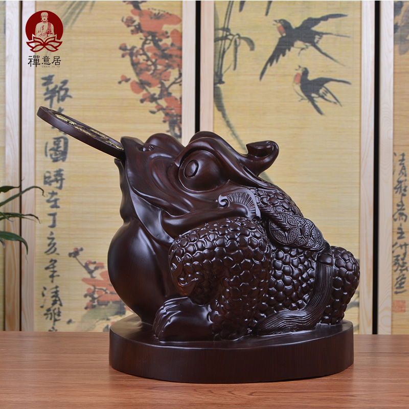Three legged toad xianbao toad ornaments lucky feng shui mahogany ebony wood carving crafts ornaments home opening gifts