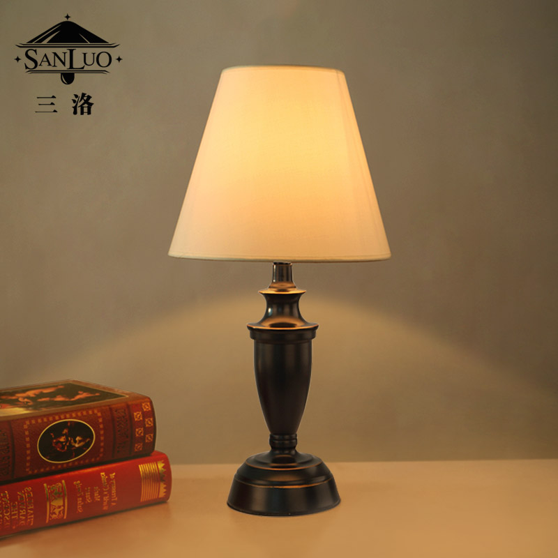 Three los american country fabric lamp bedside lamp bedroom lamp creative cozy living room table lamp decorated wedding